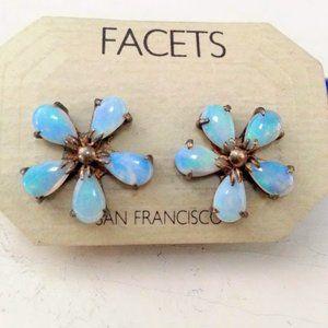 Opal 5 petal flower earrings by Facets - vintage